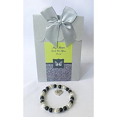 Exquisita pulsera con madre caja de regalo personalizada Negro Pulsera con brillantes Mummy