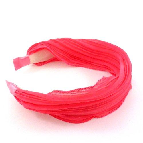 rougecaramel - Serre tête/headband/ large plissé façon bandeau - corail