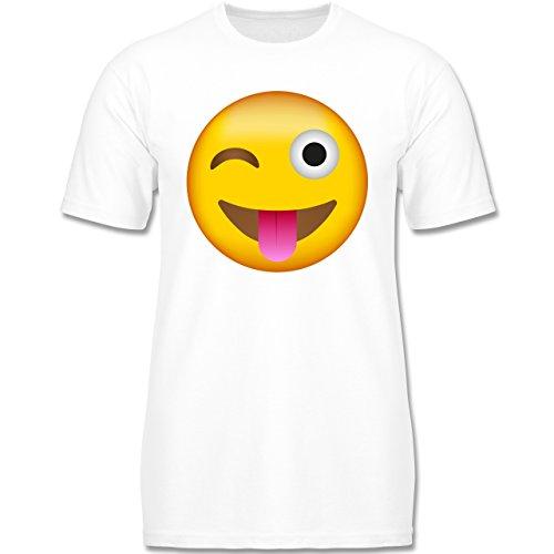 Anlässe Kinder - Emoji herausgestreckte Zunge - 134-146 (9-11 Jahre) - Weiß - F140K - Jungen T-Shirt