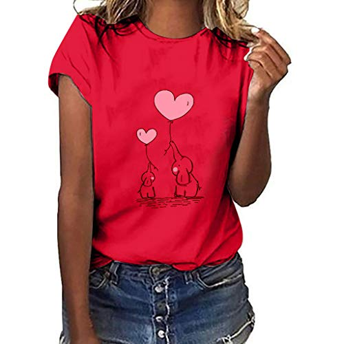 MINXINWY Camisetas de Mujer Tallas Grandes, Cute Impreso Camisetas de Verano Mujer Manga Corta Tops Blusa Casual Señoras Camisetas de Algodón Blusas de Estampado de Elefante bebé