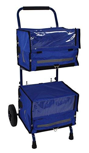 Zeitungswagen mit 2 Zeitungstaschen (blau) - Zeitungstaschen eignen sich für Zeitungswagen und Fahrrad ★ Zustellerbedarf für Zeitungszusteller