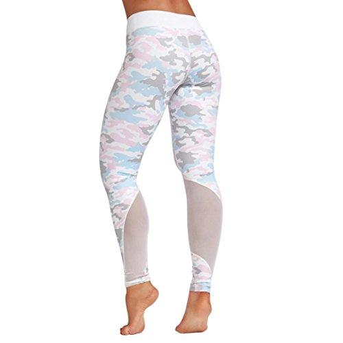 Hosen Damen,Dasongff Damen Printed Fitness Leggings für Laufen Yoga Workout Yogahose High Waist Enge Strumpfhose Sports Pants Sweathose Mit Mesh (M, Weiß) (Strumpfhosen Laufen)