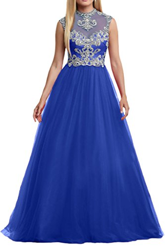 Milano Bride 2017 Neu Tuell Steine Pailletten Zwei-traeger Abendkleider Partykleider Abiballkleider Lang A-linie Rock Royal Blau