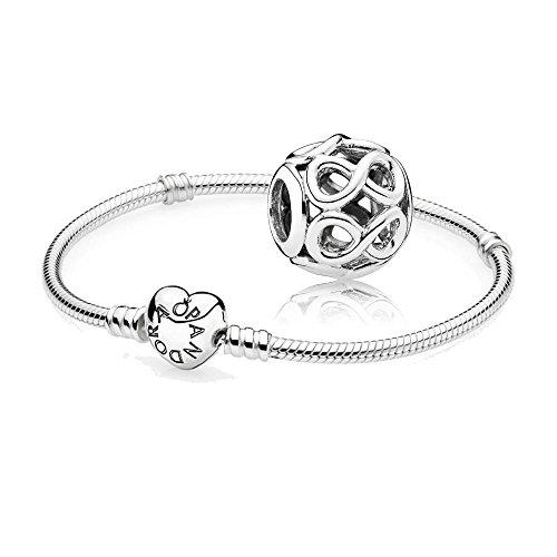 Original-Pandora-Geschenkset-1-Silber-Armband-mit-Herz-Schliee-590719-und-1-Silber-Charm-Unendlichkeit-791872