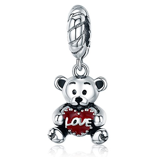 Youfeng jewellery youfeng gioielli amore ciondolo a forma di cuore rosso smaltato orso pendenti charms bracciale serpente collane regali di compleanno