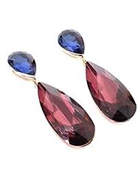 2b08639a9f68 Pendientes Largos Mujer Bisutería Cristales de Colores Fiesta Boda Forma  Lágrima Chapado Oro