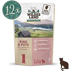 Wildes Land | Nassfutter für Katzen | Nr. 1 Rind & Pute | 12 x 100 g | Getreidefrei | Extra viel Fleisch Akzeptanz und Verträglichkeit | Rohstoffe aus der Lebensmittelproduktion