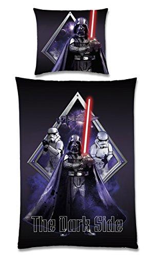 Global Labels G 104 600 SW2 100 Star Wars The Dark Side Wende-Bettwäsche, Renforce 135 x 200 cm Bettbezug und 80 x 80 cm Kissenbezug