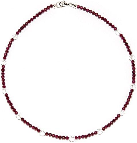 Granat Schmuck (Halskette) Granat Kette mit Bergkristall Verschluss 925er Sterling-Silber