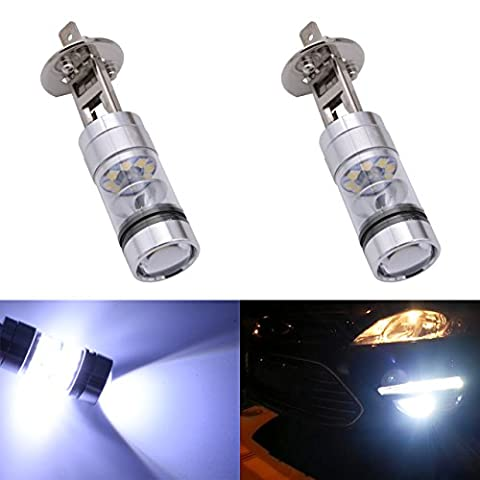KaTur 1800 Lumens Extremely Bright 100W High Power 2828 20SMD CREE XBD Chipsets Aluminum H1 LED Turn Signals Light Bulbs DRL Fog Lights DC 12V White 8000K