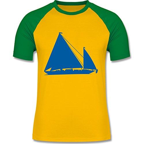 Schiffe - Segelboot - zweifarbiges Baseballshirt für Männer Gelb/Grün