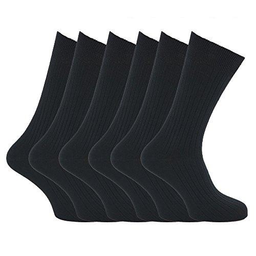 Calcetines XL acanalados 100% algodón Tallas 45-49 para hombre/caballero - Pack de 6 pares de calcetines...