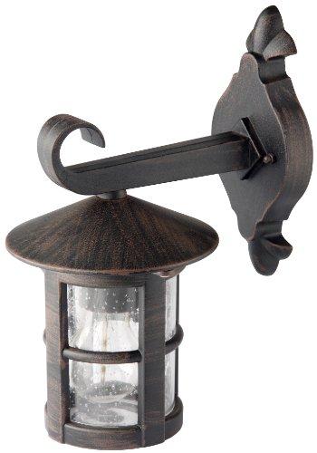 Brilliant Jordy Außenwandleuchte, hängend, 1-flammig, E27, 1 x 60 W, Metall/Glas, schwarz/rost / braun/gewischt 45582/60