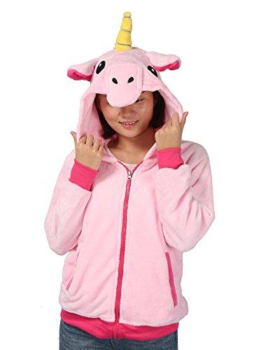 Einhorn Kostüm Sweatshirt Tieroutfit HoodiesKapuzenpullover Reißverschluss mit Kapuze Cosplay (Large, pink)