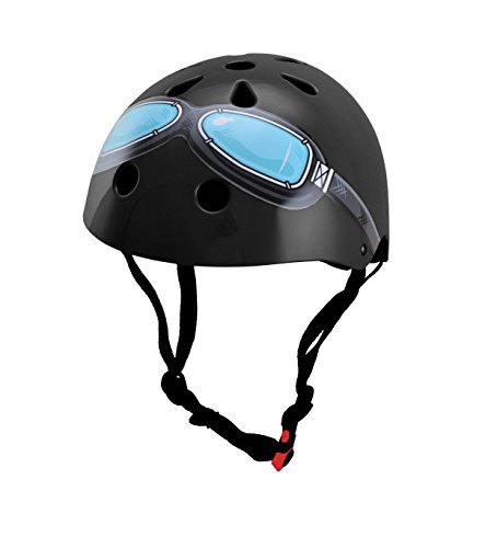 Kiddimoto KMH044M - Fahrrad Skater Helm für Kinder Black Goggle, Gr.M (5-14 Jahre)