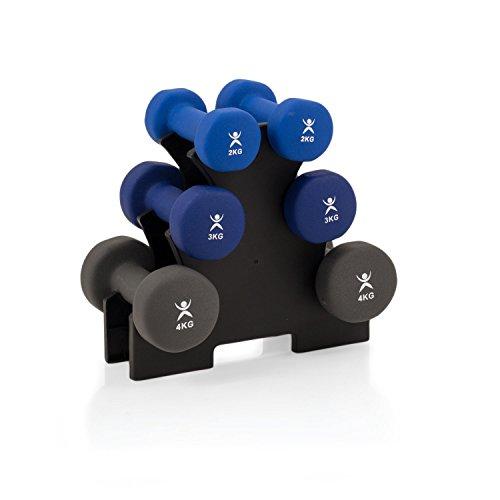 SET MIT ABLAGESTÄNDER | Gymnastikhanteln | Hanteln | NEOPRENE | Kurzhanteln | 3 Paar | 2x 2,0 Kg | 2x 3,0 Kg | 2x 4,0 Kg