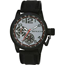 Henley Large Case Men's Quartz Fashion Watch with Decorative Grey Dial Analogue Display and Black Silicone Strap H02069.3