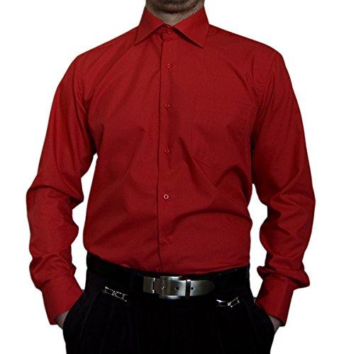 Tonelli Designer Herren Hemd Rot klassischer Kragen Herrenhemd Kentkragen Langarm Größe XXXL 48