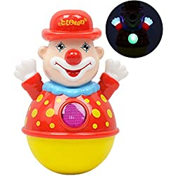Brain Game Gowsch Divertente Clown Tumbler Giocattolo Swing Giocattolo con Musica Luce Early Educational Tumbler Toy Kids Holiday Birthday Gift colorato