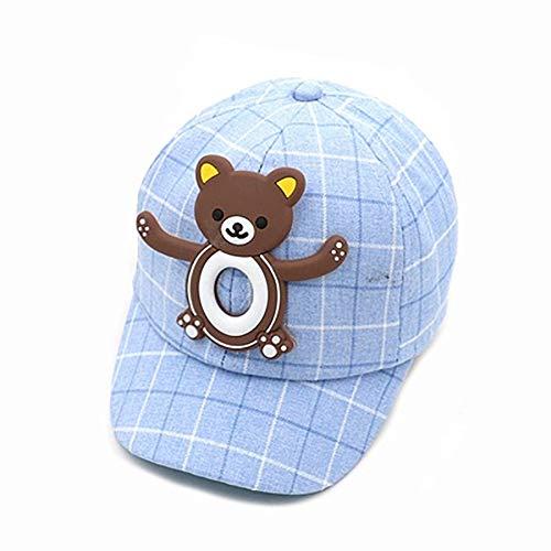 Lindo Gorro de Bebe Animal de Dibujos Animados Gorra de Béisbol con Protección Solar para el Verano Velcro Ajustable Sombrero de Algodón Suave y Transpirable Adecuado para Niños de 1 a 4 Años-Oso