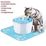 ELYQGGG Dispensador de Bebida Pet Bowl Filtro del Gato del Perro del Gato automática Fuente de Agua de 1.6L eléctrica Fuente de Agua para Mascotas Bebedor Tazón USB Universal Plug