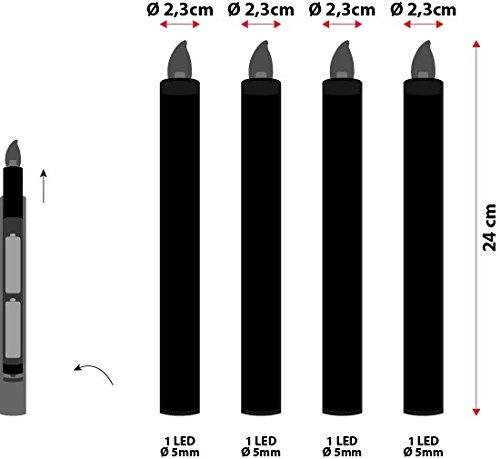 Pack 4 velas candelabro de cera, h. 24 cm, LED luz cálida, con pilas, de interior, efecto llama, luces a pilas, luces de Navidad, velas LED