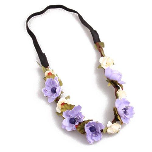 Bandeau-SODIAL(R) Fleur Boho Floral Bandeau Festival Guirlande Mariage Bandeau Nuptiale(violet)
