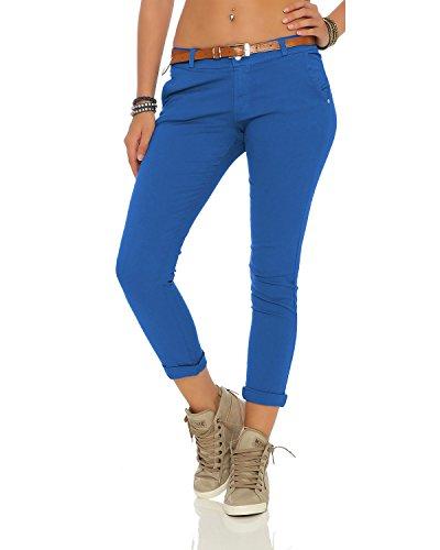 ZARMEXX Damen Stretch Röhrenhose mit Gürtel Chino Skinny Stoffhose Jeggings, Blau, Gr. S (36)