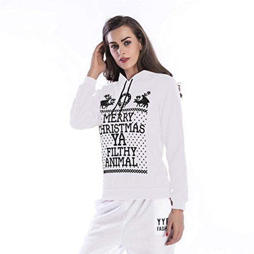 NiSeng Noël Sweat À Capuche, Sweatshirt Capuche Survêtement Femme Automne Casual Pull À Capuche+ Pantalons 2Pcs Suit Blanc
