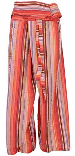 Guru-Shop Thai Fischerhose aus Gestreift Gewebter, Feiner Baumwolle, Wickelhose, Yogahose, Herren/Damen, M/L Orange, Size:One Size, Fischerhosen & Yogahosen Alternative Bekleidung
