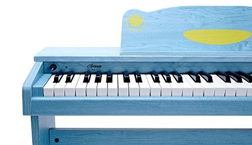 Artesia F-61BL Kinder Digitalpiano (E-Piano, Keyboard, Bank, Kopfhörer, 61 anschlagsdynamische Tasten, 8 Sounds, 1 Demo Song, 32-Fache Polyphonie, USB-Anschluss, inkl. Apps für Android und iOS) blau - 3