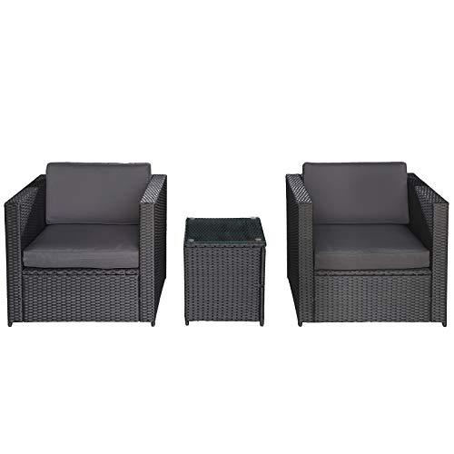 Outsunny 3-TLG. Polyrattan Gartengarnitur Gartenmöbel Garten-Set Sitzgruppe Loungeset Loungemöbel inkl. Sitzkissen