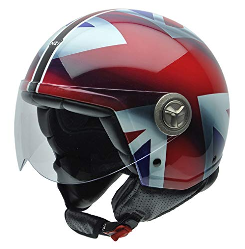 NZI 490004G332 Zeta Graphics Union Jack, Casco da Moto, Dettaglio Bandiera Britannica, Bianco/Blu/Rosso, Taglia XL