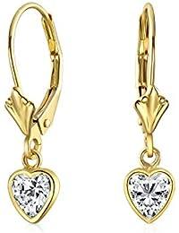 59ee41f47995 Verdadero Corazón de oro amarillo 14k zirconia cúbico CZ Bisel cuelgan Aretes  Leverback