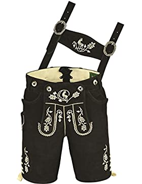 Hochwertige echt Leder Wildbock Trachten Lederhose Herren kurz, Damen Trachtenlederhose mit Träger in Schwarz