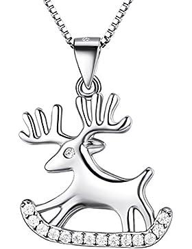 J.SHINE Weihnachten Elch Kette Damen Halskette Anhänger Basic 925 Sterling Silber Zirkonia mit Italien 45cm Kastenkette...