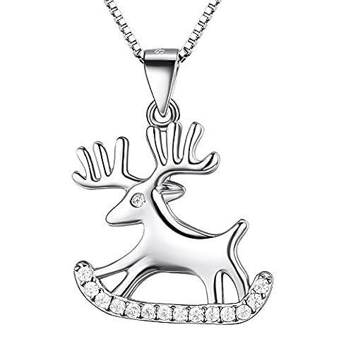 J.SHINE Kette Damen Glücklich Hirsch Halskette Anhänger Basic 925 Sterling Silber Zirkonia mit Italien 45cm Kastenkette Weihnachts Geschenk
