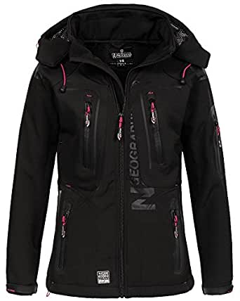 Geographical Norway Damen Softshelljacke Tassion Kapuze, Stehkragen black/flashy pink S