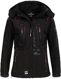 Geographical Norway–Chaqueta para mujer tejido softshell tassion capucha, cuello alto