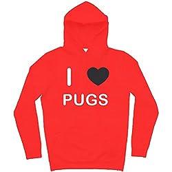 I Love Pugs - Sudadera con capucha Rojo Extra Grande