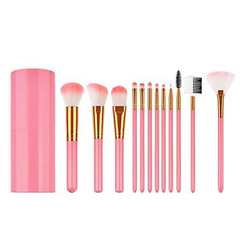 Cdet. 12Pcs Kit De Pinceau Maquillage avec Manche en Plastique Cosmétiques Brush à Double tête Ensemble Fondation Mélange Blush Yeux Visage Poudre Sourcil Brosse Make Up Or Rose