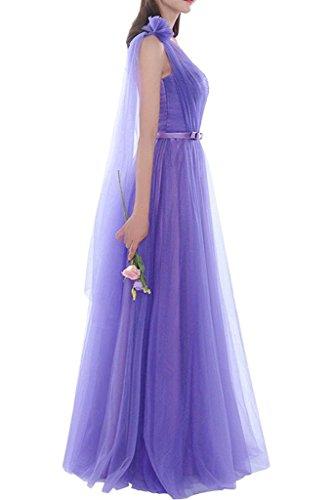 Ysmo Frauen A-Line Tüll Lange Brautjungfer Kleider Pleats Prom Kleider Abend Formal Lavendel A
