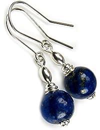 Azul de Lapis lázuli Juego de pendientes de plata de ley de regalo auriculares de cables de fotos para hacerlo tú Diosa joyas