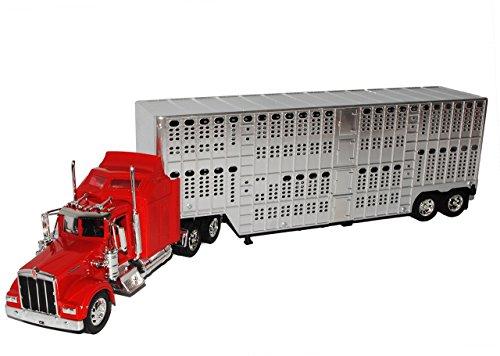 Kenworth-lkw-modelle (Kenworth W900 Tiertransport Auflieger Truck LKW 1/32 New Ray Modell Auto mit individiuellem Wunschkennzeichen)