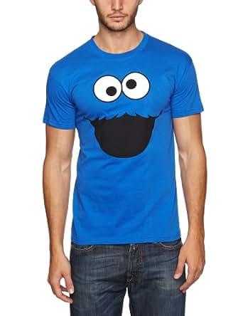 Sesame Street Men's Monster Face Short Sleeve T-Shirt, Blue, X-Large