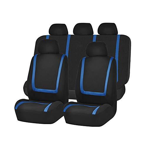 GUOCU Coprisedili Auto Universali Set Completo Copertura Protezione Sedili per Auto in Poliestere Tessuto Anteriore e Posteriore Blu 9 Pezz