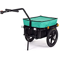 SAMAX Remorque de Vélo Chariot de Transport Haute Traction avec Poignée et Bâche 60 kg 70L en Vert - plus de couleurs disponibles