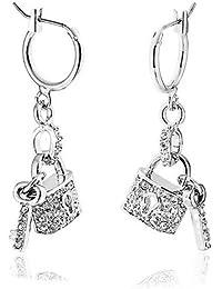 e2571b9d3159 Bling Jewelry Crystal Cerradura y Llave encanto cuelgan aretes de latón  chapados en rodio