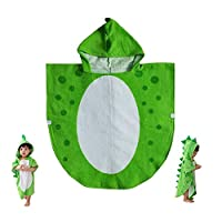 Children Bath Towel Baby Bathrobe Cotton Dinosaur Pattern Kids Robe Beach Swimming Hooded Poncho