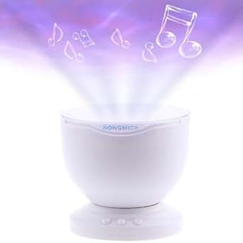Songmics LED-Nachtlicht Projektionslampe Ozean Meer Beleuchtung mit Lautsprecher USB-Kabel FSL005